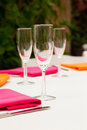 Wine glasses at wedding are setup as decor for this reception Stock Image