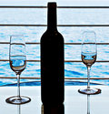 Wine Glasses and Wine Bottle Stock Photo