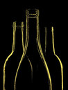 Wine glassware abstract background design made from wine bottles Royalty Free Stock Photo