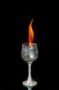 Wine goblet with fire flames on black background Stock Photography