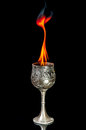 Wine goblet with fire flames on black background Royalty Free Stock Photos