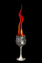Wine goblet with fire flames on black background Royalty Free Stock Images