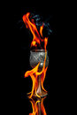 Wine goblet with fire flames on black background Royalty Free Stock Photo