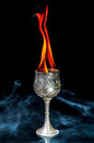 Wine goblet with fire flames with smoke on black background Royalty Free Stock Photo