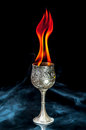 Wine goblet with fire flames with smoke on black background Stock Photography