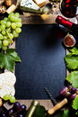 Wine and grape background with space for text Stock Photos