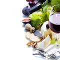 Wine grape and cheese over white Stock Photos