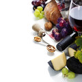 Wine grape and cheese over white Royalty Free Stock Photography