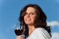 Wine happy woman with red outdoors Stock Image