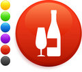 Wine icon on round internet button Stock Photos