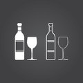 Wine icon. Solid and Outline Versions. White icons on a dark bac