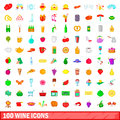 100 wine icons set, cartoon style