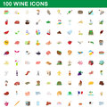 100 wine icons set, cartoon style
