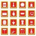 Wine icons set red