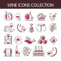 Wine icons vector collection set for winemaking or winery production industry