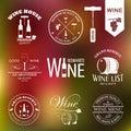 Wine labels set on blurred background vector illustration Stock Image