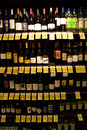Wine liquor alcohol store variety of alcohols in a supermarket Stock Photo