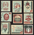 Wine and liquor set of postal stamps on theme of Royalty Free Stock Images