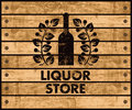 Wine and liquor store sign Royalty Free Stock Photo