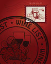 Wine list design with post stamps Stock Photography