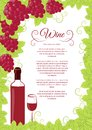 Wine list design red grapes this is file of eps format Royalty Free Stock Photo