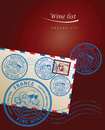 Wine list design with stamps Royalty Free Stock Photography