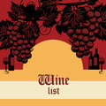 Wine list design vintage color illustration Stock Photo