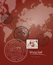 Wine list design with world map and stamps Royalty Free Stock Photo