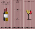 Wine list illustration of white red and rose Royalty Free Stock Photography
