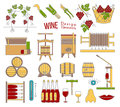 Wine making and wine tasting flat design elements