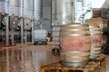 Wine manufacturing modern winery tanks Royalty Free Stock Image