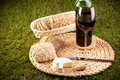 Wine picnic on grass Royalty Free Stock Photo