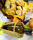 Wine And Picnic Hamper Stock Images
