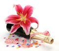 Wine and pink lilies Stock Photo