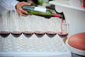 Wine pour wine glass focus selection Royalty Free Stock Photography