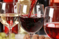 Wine pouring into a wine glass Royalty Free Stock Photo
