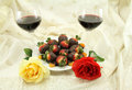 Wine Roses and Sweets Stock Photography