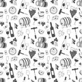 Wine seamless pattern with grapes, leaves, wine