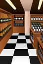Wine section in a store vector illustration of Royalty Free Stock Images