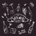 Wine set on chalk board vector illustration Stock Images