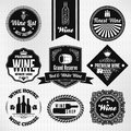Wine set vector of labels eps Royalty Free Stock Photography