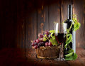 Wine set on wooden background Stock Image