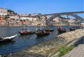 Wine ships and dom luis bridge porto a view of the typical in portugal Stock Photos