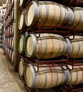 Wine stacked barrels to ferment the la rioja spain Stock Photo