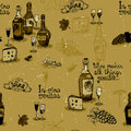 Wine still life monochrome pattern vector illustration Stock Image