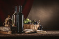 Wine still life with old books Royalty Free Stock Photo
