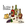 Wine still life in vino veritas isolated vector illustration Royalty Free Stock Photos
