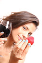 Wine and strawberry portrait of a beautiful latin woman eating a drinking Stock Photos