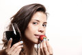 Wine and strawberry portrait of a beautiful latin woman eating a drinking Stock Images