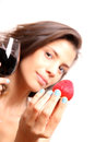 Wine and strawberry portrait of a beautiful latin woman eating a drinking Royalty Free Stock Images